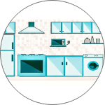 equipped kitchen in all HOPO Homes